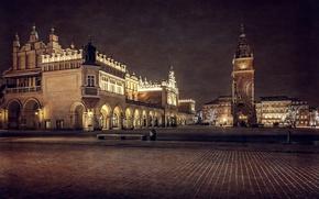 Картинка ночь, здания, башня, площадь, Польша, архитектура, Краков