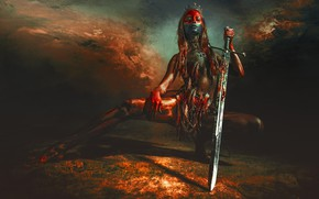 Обои девушка, поза, фон, меч, перья, корона, диадема, раскрас, RED SKY OVER UTAH