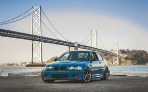 Картинка BMW, Blue, E46, Sea
