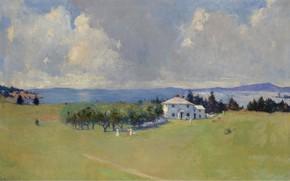 Картинка деревья, пейзаж, дом, картина, Frank Weston Benson, Фрэнк Бенсон, Wooster Farm