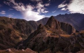Картинка небо, облака, горы, город, руины, Анды, Южная Америка, Мачу-Пикчу