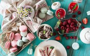 Картинка ягоды, малина, печенье, сладости, вкусно