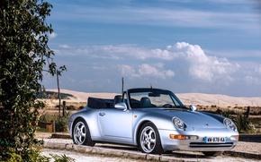 Картинка небо, Porsche, кабриолет, Porsche 911, Carrera, Cabriolet, Silver