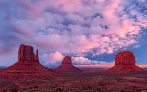 Картинка небо, облака, горы, природа, скалы, Юта, США, Долина Монументов