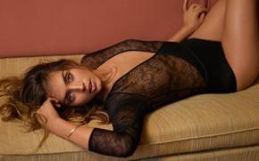 Картинка look, lips, Ana de Armas, actress, girl, gq magazine, couch, hair