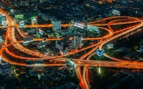 Картинка свет, ночь, дороги, дома, Тайланд, Bangkok