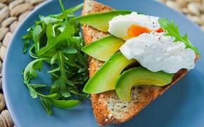 Картинка яйца, завтрак, хлеб, авокадо, руккола
