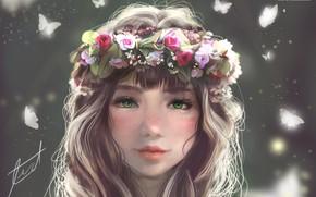 Картинка девушка, венок, by fizzypopcake