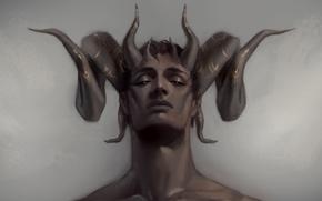 Обои лицо, рога, демон, парень, арт, фэнтези