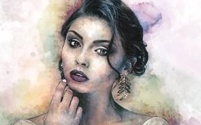Обои взгляд, лицо, девушка, арт, прическа