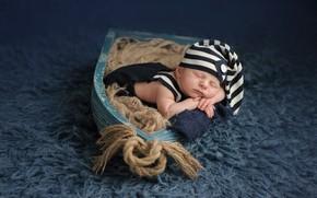 Картинка ковер, лодка, ребенок, сон, веревки, мех, крышка, младенец