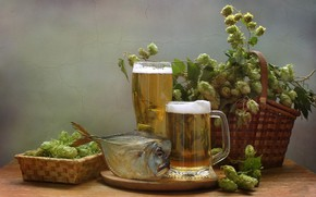 Картинка лето, пиво, рыба, натюрморт, хмель, вомер