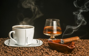 Картинка кофе, чашка, сигара, коньяк, зёрна