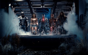 Обои Wonder Woman, Batman, Movie, Cyborg, Flash, Aquaman, Justice League, Лига справедливости