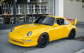 Обои Porsche, желтый, передок