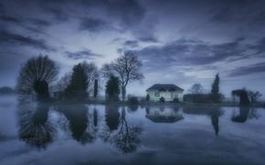 Картинка облака, деревья, озеро, дом, отражение, Англия, Нормантон он Сор