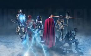 Картинка фон, фантастика, Wonder Woman, постер, Batman, комикс, костюмы, Superman, супергерои, DC Comics, Clark Kent, Bruce …
