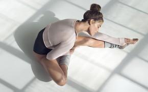 Картинка поза, растягивание, фигура, Модель, фитнес, Nina Agdal, Нина Агдал, стретчинг