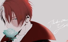 Обои парень, фон, Todoroki Shouto, Boku no Hero Academia, роза