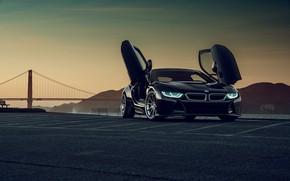 Картинка закат, горы, мост, Gran Turismo, BMW i8