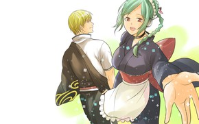 Картинка девушка, аниме, парень, двое, Gintama, Tama, Sakata Kintoki
