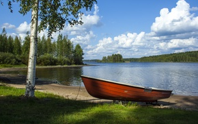 Картинка Небо, Природа, Облака, Озеро, Лодка, Nature, Clouds, Sky, берёза, Финляндия, Finland, Lake, Boat
