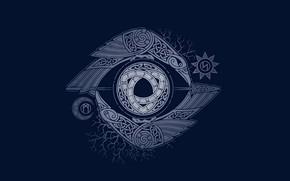 Обои Узоры, Тёмный фон, Хугин и Мунин, Глаз Одина