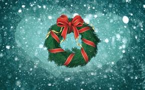 Картинка Зима, Минимализм, Снег, Новый Год, Рождество, Фон, Праздник, Настроение, Бант, Венок, Новогодний венок