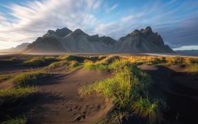 Картинка пляж, небо, горы, Исландия