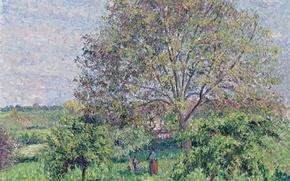 Картинка пейзаж, природа, дерево, картина, Камиль Писсарро, Орех Весной в Эраньи