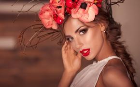 Картинка взгляд, цветы, лицо, стиль, макияж, венок, красная помада, Катерина Рубинович, Katerina Rubinovich, Katerina Kristall