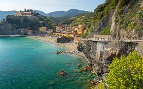 Картинка море, пляж, скалы, берег, Италия, landscape, Italy, travel, Monterosso al Mare, Liguria