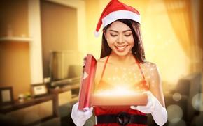Обои девушка, праздник, подарок, новый год