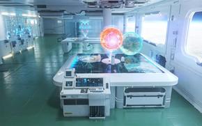 Картинка лаборатория, помещение, E.V.A Space Station, Sofian Moumene