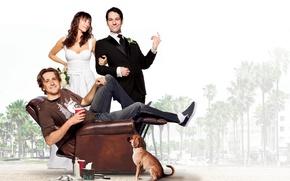 Обои пляж, пальмы, собака, кресло, платье, пара, костюм, шатенка, невеста, мелодрама, постер, в белом, жених, комедия, ...