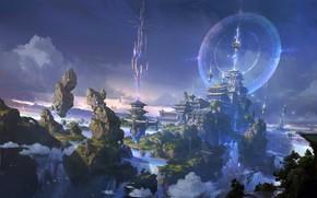 Картинка небо, город, замок, игра, локация, 《大主宰》牧府气氛设计插图, lok du