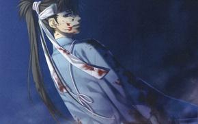 Картинка кровь, самурай, повязка, сражение, плащ, art, демоны бледной сакуры, hakuouki shinsengumi kitan, yone kazuki, toudou …