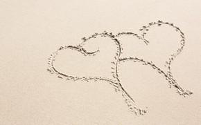Картинка песок, пляж, праздник, сердечки, день влюбленных