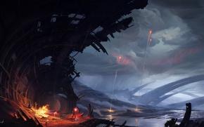 Картинка люди, арт, развалины, руины, костёр, романтика апокалипсиса, romantically apocalyptic, resistance, сигнальные огни, Romain Lebouleux