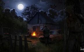 Обои ночь, луна, Сталкер, Stalker, Art, костёр, сталкеры