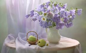 Картинка цветы, стол, яблоки, ромашки, ваза, натюрморт, колокольчики, корзинка, занавеска
