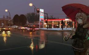 Картинка девушка, ночь, город, зонт, аниме, арт