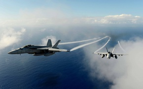 Картинка sky, aircraft, sea, weapon, wings, clouds, fly, couple, Super Hornet, plane, jet, F/A-18F Super Hornet, …