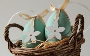 Картинка праздник, корзина, яйца, Пасха, декор