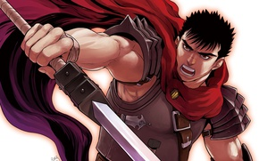 Картинка sword, game, armor, anime, man, ken, blade, Berserk, manga, powerful, strong, Guts