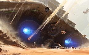 Картинка Star Wars, battlefield, fantasy, soldiers, desert, Star Destroyer, spaceship, movie, painting, battle, film, artwork, fantasy …