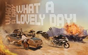 Картинка взрыв, транспорт, мотоцикл, автомобиль, What a Lovely Day