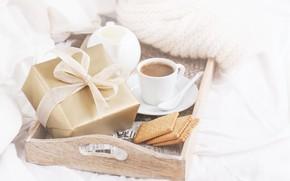 Картинка подарок, кофе, молоко, печенье, завтрак в постель, Valeria Aksakova