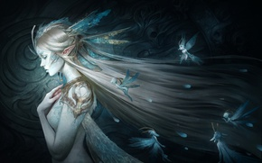 Картинка девушка, эльф, феи, by Skyzocat