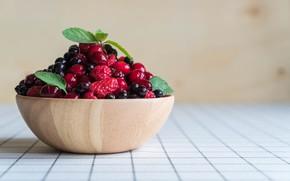 Картинка вишня, ягоды, малина, фрукты, витамины, вкусно, спелые, черная смородина